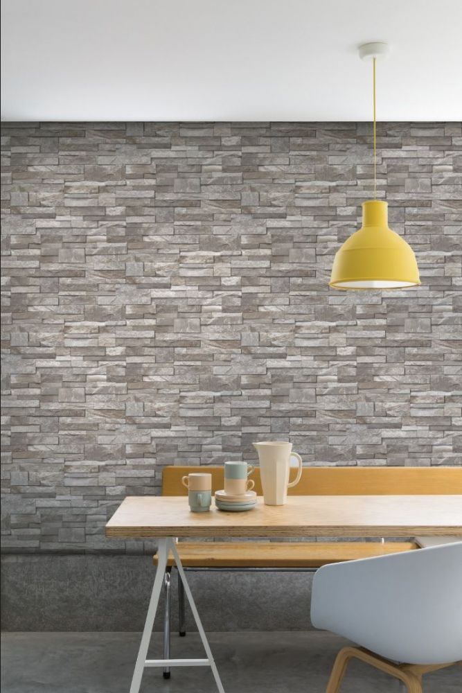 Grandeco Stone Effect Brown A17204 Wallpaper